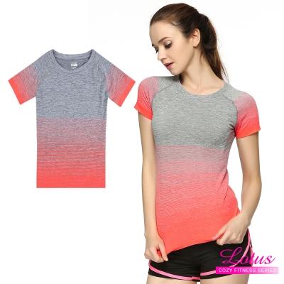 運動T恤 質感漸層立體剪裁彈力速乾短袖運動上衣-俏麗橘 快速到貨 LOTUS