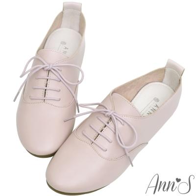 Ann'S全羊皮Q軟文青牛津英倫小白鞋-粉紫