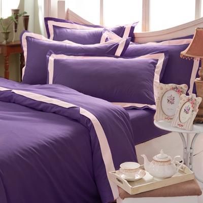 義大利La Belle 美學素雅 雙人被套床包組-紫