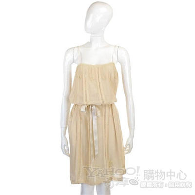 CLASS roberto cavalli 米色蕾絲紗質細肩帶洋裝