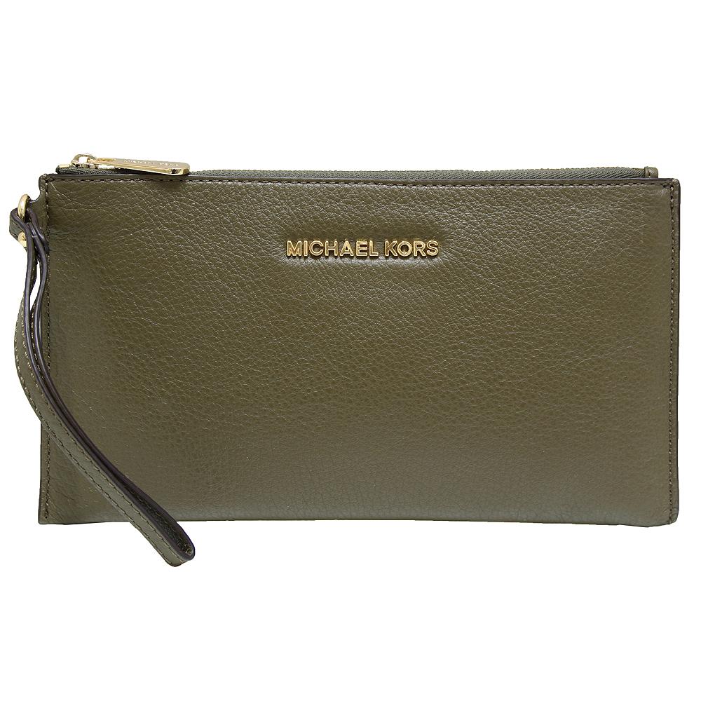 MICHAEL KORS BEDFORD 立體LOGO皮革手拿包-橄欖綠(大)