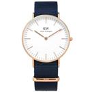DW Daniel Wellington Classic尼龍手錶-白x玫瑰金x藍/36mm