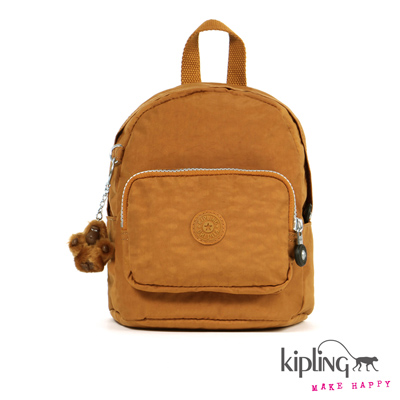 Kipling-迷你後背包-楓糖棕素面