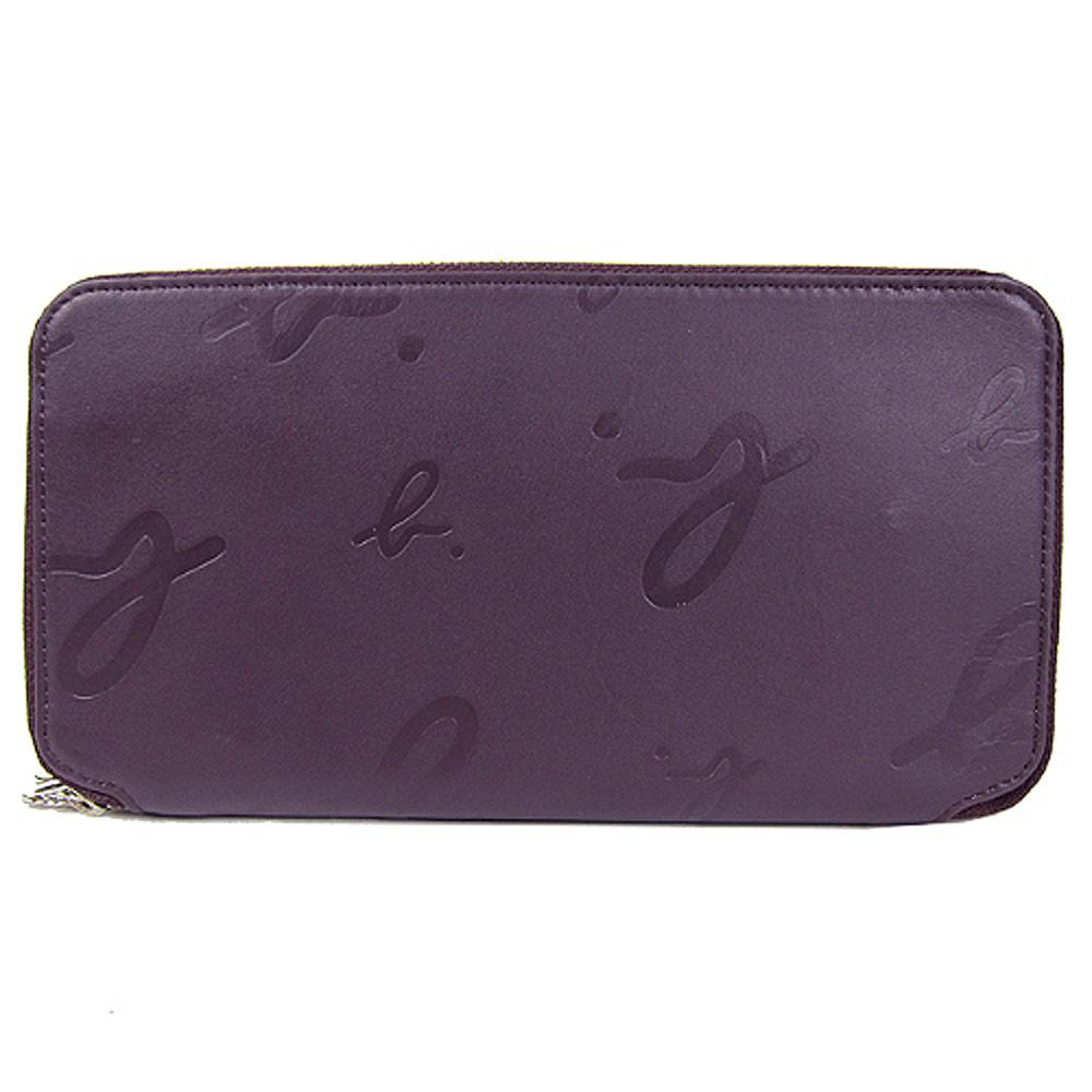 agnes b. 真皮壓紋萬用長夾(紫)