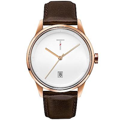 TYLOR 簡約時尚皮革手錶-白X玫瑰金框/43mm