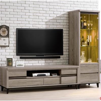 H&D 莉比絲古橡木色8尺L型電視櫃組  (寬244X深49X高185cm)
