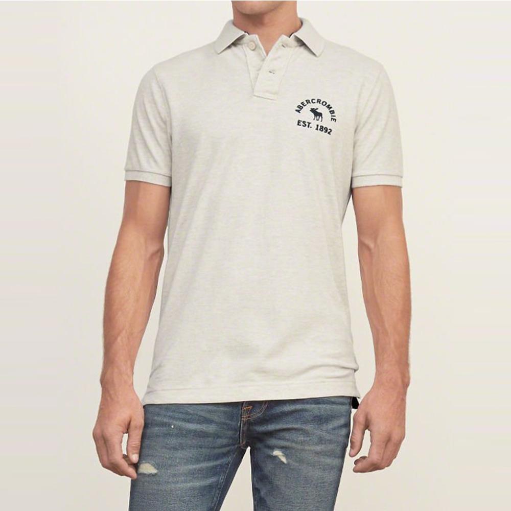 A&F 經典刺繡文字麋鹿短袖Polo-米灰色 AF Abercrombie