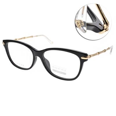 GUCCI 眼鏡 氣質簡約款/黑-金#GG3772F HQW