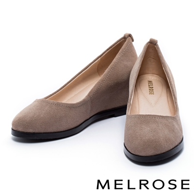 高跟鞋 MELROSE 時尚素色牛絨皮內增高高跟鞋-米