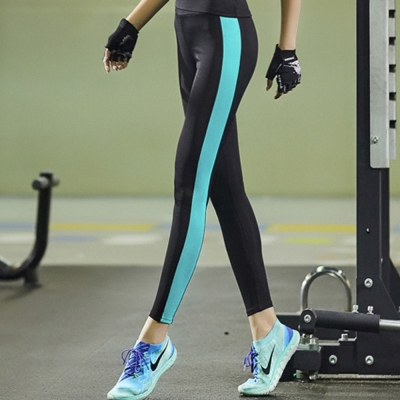 側邊直條配色貼腿運動長褲-藍-SZ-sport