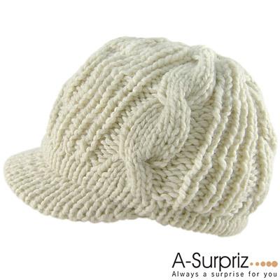 A-Surpriz 甜心麻花編織護耳貝蕾帽(優雅米)