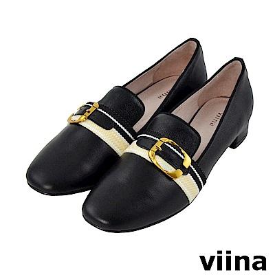 viina-休閒系列-小清新真皮配色織緞帶樂福鞋-經典黑