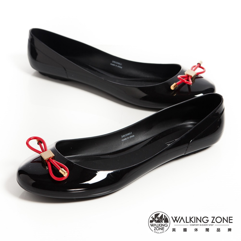 WALKING ZONE 韓版蝴蝶結亮麗配色果凍鞋-黑