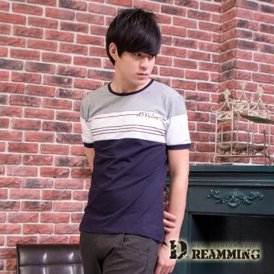Dreamming 韓系經典配色萊卡彈力圓領短T-共二色
