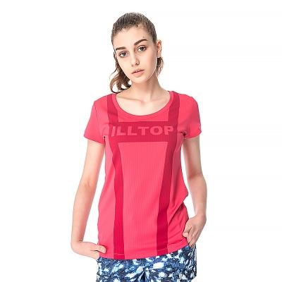 【hilltop山頂鳥】女款coldblack抗UV吸濕排汗上衣S04FF4-粉