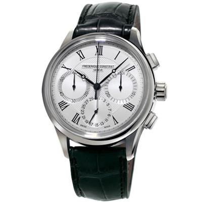 康斯登 CONSTANT自製機芯返馳式計時腕錶--42mm/銀白x黑