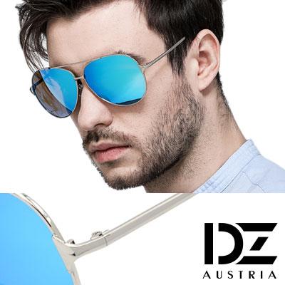【2件59折】DZ 飛官焦點 抗UV 偏光太陽眼鏡墨鏡(銀框冰藍膜)