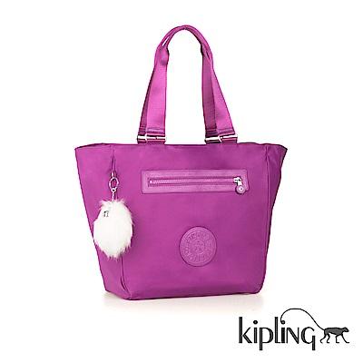 Kipling 手提包 奢華紫素面-大