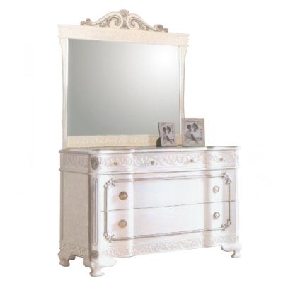 AT HOME - 仙雅娜4尺法式象牙白銀邊斗櫃鏡台 122x60x175cm