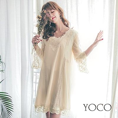 東京著衣-yoco 唯美質感細緻重工蕾絲花邊洋裝-S.M.L(共一色)