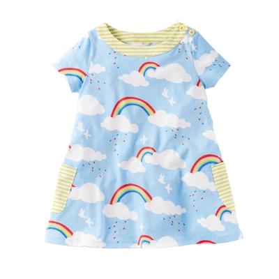 上衣 女童 彩虹 歐美經典兒童純棉短袖T恤