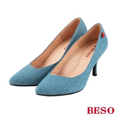 BESO摩登女孩 時尚斜口素面紅唇跟鞋~藍