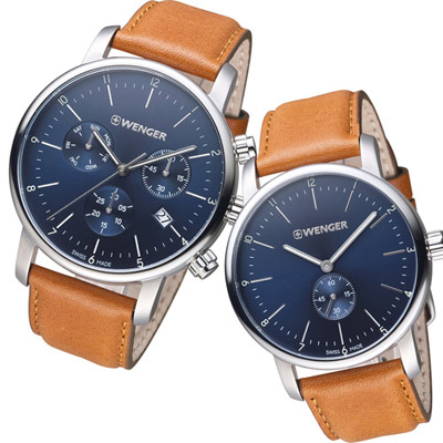 瑞士WENGER Urban 現代都會經典對錶(011743104+011741103)藍