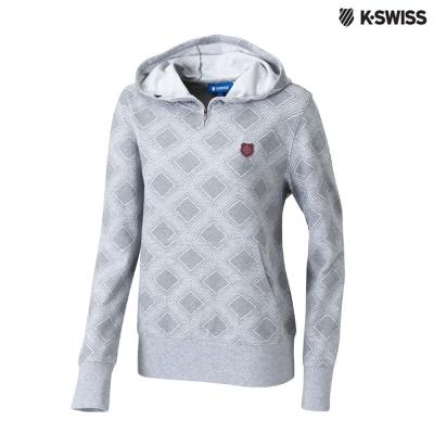 K-Swiss Allover Print Hoodie印花連帽上衣-女-灰
