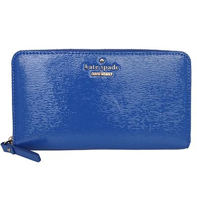 kate-spadee寶藍亮面漆皮壓紋拉鍊長夾