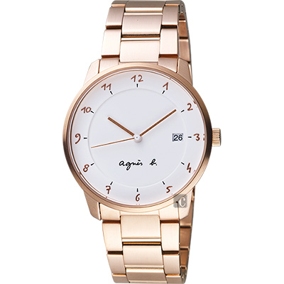 agnes b. 法國時尚藝術腕錶(BS9002J1)-白x玫塊金/38mm