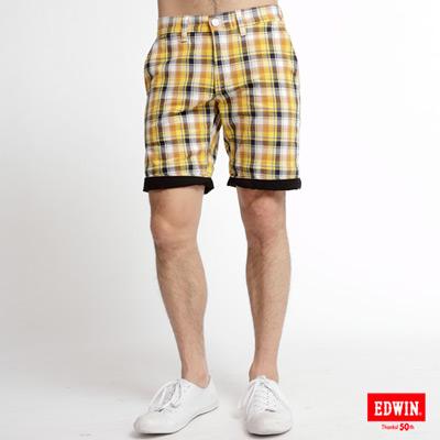EDWIN休閒帥氣-時尚反褶格子短褲-男款黃格