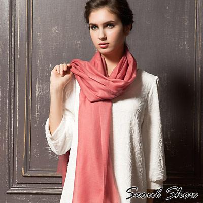 Seoul-Show-200支水溶100-純羊毛高級圍巾披肩11色-豆沙色