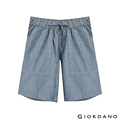 GIORDANO 女裝抽繩丹寧牛仔短褲- 87 淺靛藍