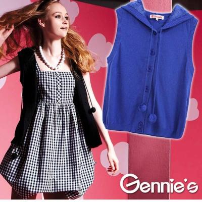 【Gennie's奇妮】素面連帽休閒孕婦針織背心外套/罩衫(GSY11)-藍