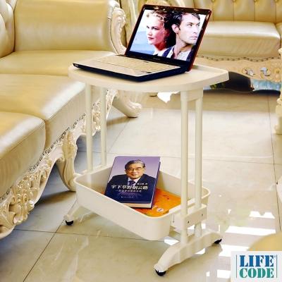 LIFECODE《悠活》二層可移動筆電桌/餐車/茶水桌 55x38x60 cm