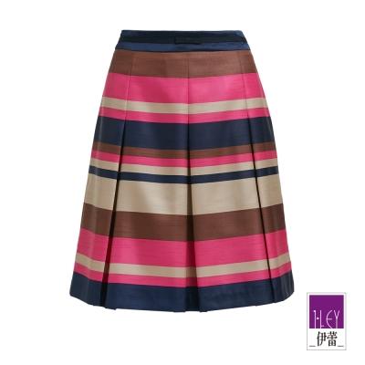 ILEY伊蕾-緞面光澤合褶及膝裙-桃