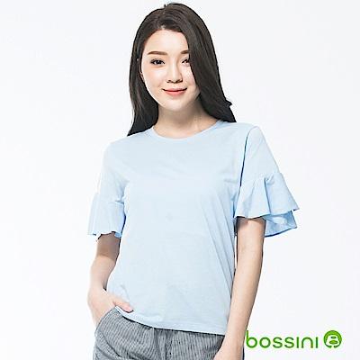 bossini女裝-圓領短袖上衣10淡藍