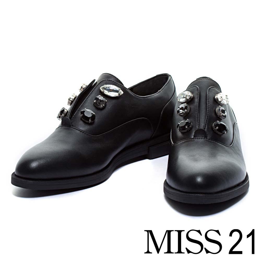 平底鞋MISS 21摩登簡約牛皮平底尖頭紳士平底鞋-黑