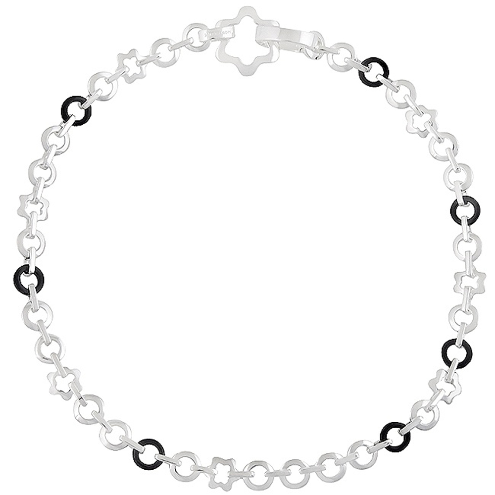 MONT BLANC 萬寶龍 六角星釦環純銀項鍊