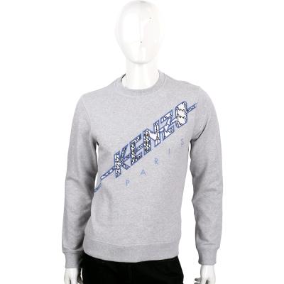 KENZO 灰色裂紋圖騰棉質長袖T恤