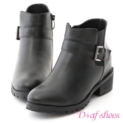D+AF 話題主角.側鬆緊內增高軍風短靴*黑
