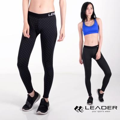 Leader 女性專用 DotFit運動壓縮緊身褲(小圓點點)