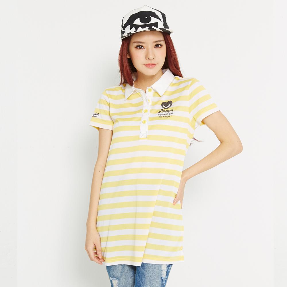 TOP GIRL 彩條長版POLO衫-黃
