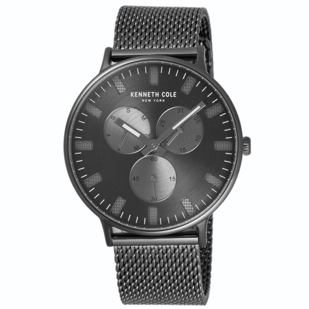 Kenneth Cole 關鍵時刻三眼米蘭帶錶-KC10031472/42mm