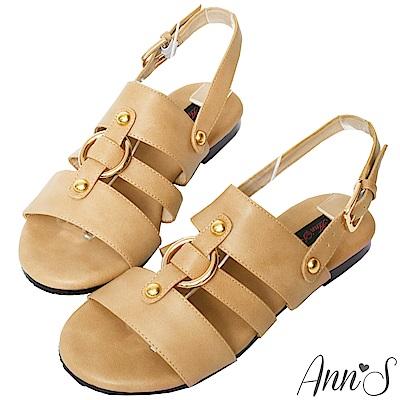 Ann'S復古派-金色圓環寬版平底涼鞋-杏