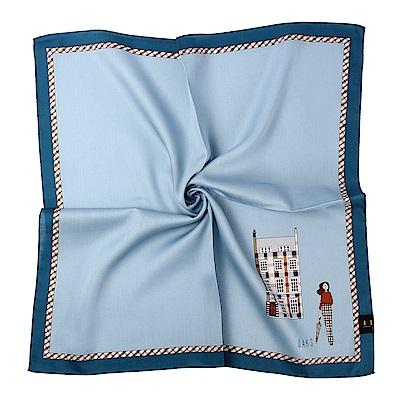 DAKS經典人物插畫素面純棉帕巾-土耳其藍