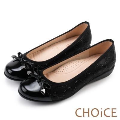 CHOiCE OL必備 菱格貼鑽布料拼接牛皮娃娃鞋-黑色