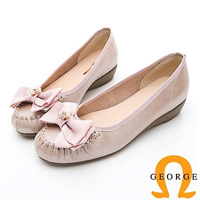 GEORGE 喬治-輕量系列 立體蝴蝶結樂福鞋淑女鞋-粉