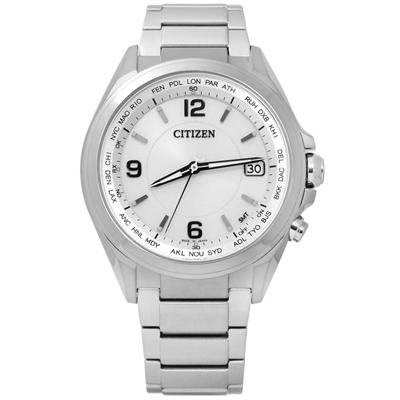 CITIZEN 時尚簡約電波光動能鈦金屬手錶(CB1070-56B)-銀色/42mm