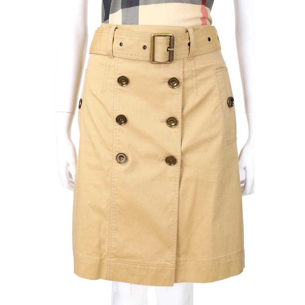 BURBERRY 卡其色銅舊排釦及膝裙